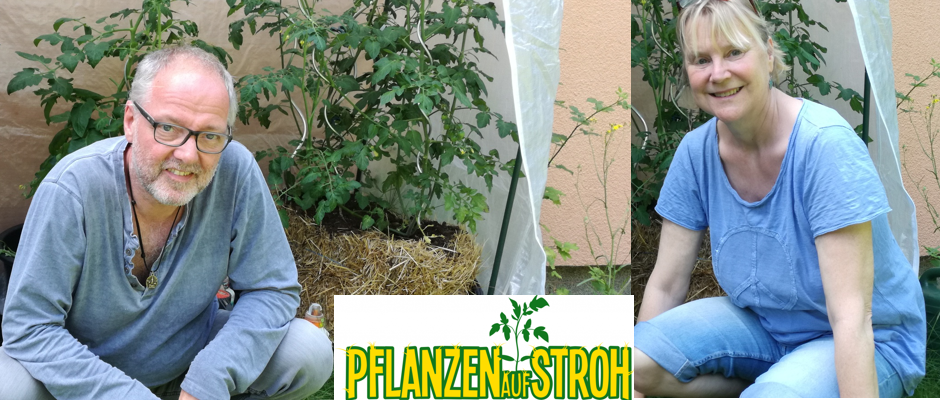 Bio-Gemüse und Obst auf Strohballen für den Hobbygärtner